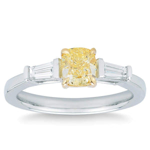 Cushion Cut 1.00 ct VS2 Clarity Fancy Yellow Simulated Diamond CZ 10K White Gold 1.35 ctw Ring