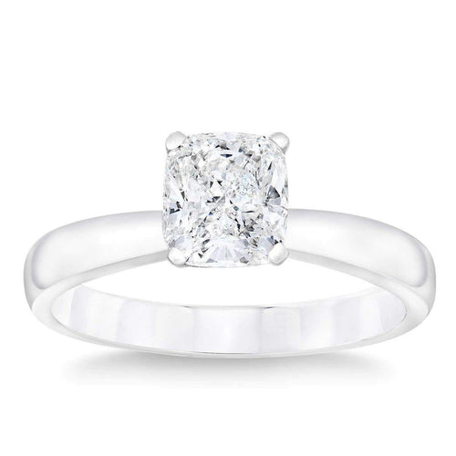 Cushion Cut 1.00 ct VS2 Clarity G Color Simulated Diamond CZ 10K White Gold Solitaire Ring