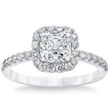 Load image into Gallery viewer, Cushion Cut 1.45 ctw VS2 Clarity I Color Simulated Diamond 10K White Gold Engagement Ring