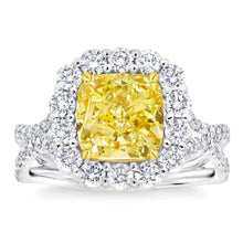 Load image into Gallery viewer, Cushion Cut 3.13 ct VS2 Clarity Fancy Yellow Simulated Diamond CZ 10kt White Gold 4.30 ctw Ring