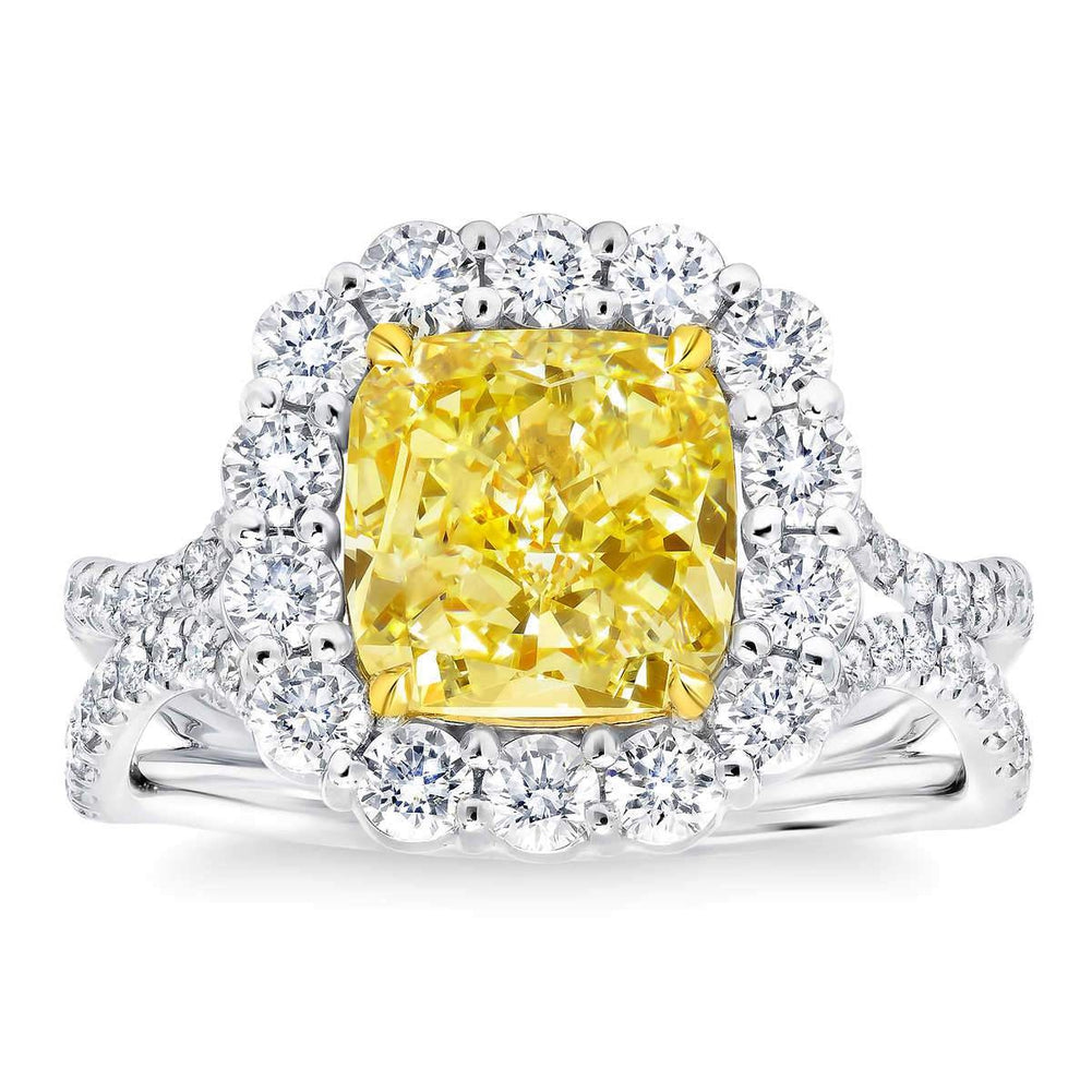 Cushion Cut 3.13 ct VS2 Clarity Fancy Yellow Simulated Diamond CZ 10kt White Gold 4.30 ctw Ring