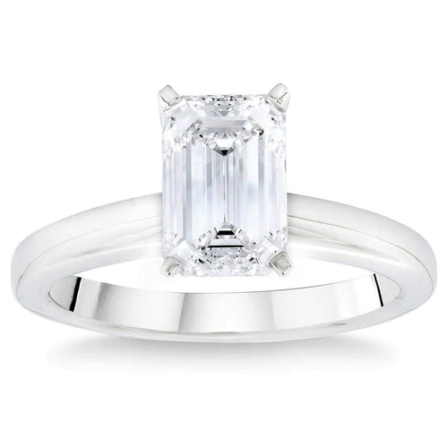 Emerald Cut 2.02 ct VS1 Clarity D Color Simulated Diamond CZ 10K White Gold Solitaire Ring