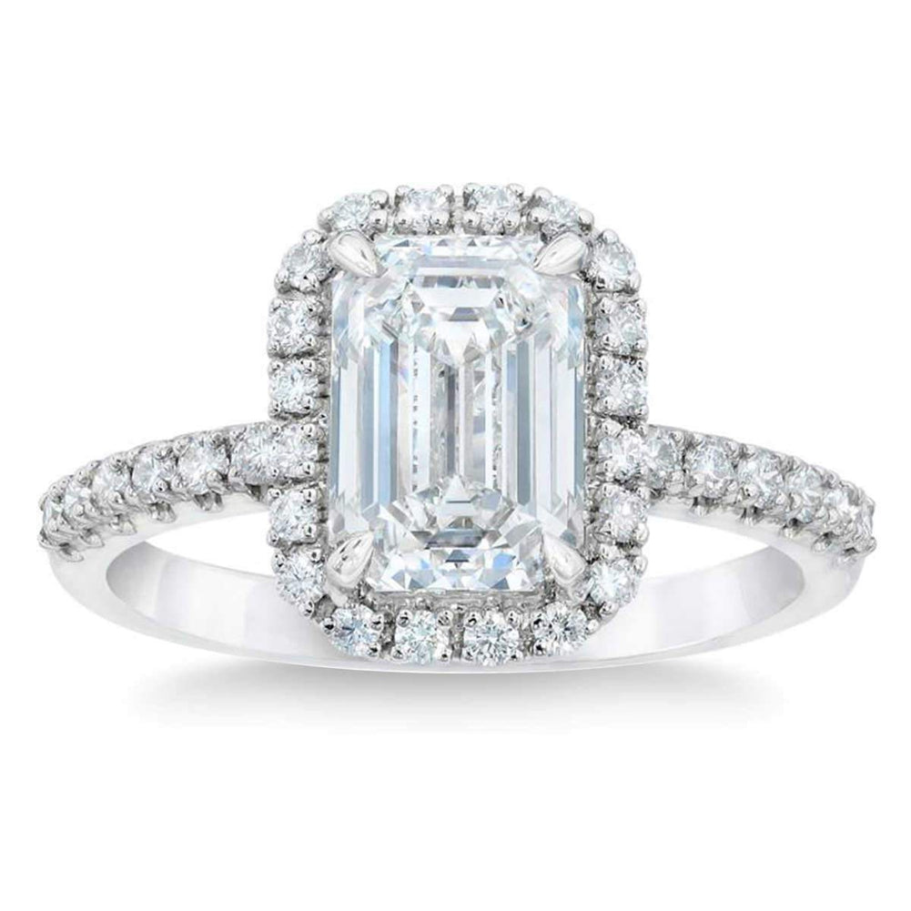Emerald Cut 2.39 ctw VS2 Clarity G Color Simulated Diamond CZ 10kt White Gold Halo Engagement Ring