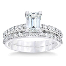 Load image into Gallery viewer, Emerald Cut 3.15 ctw  Simulated Diamond CZ 10kt White Gold Bridal Engagement Ring Set