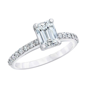 Emerald Cut 3.15 ctw  Simulated Diamond CZ 10kt White Gold Bridal Engagement Ring Set