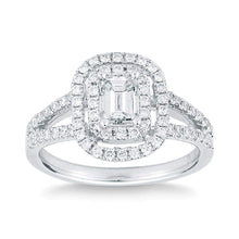 Load image into Gallery viewer, Emerald Cut & Round Brilliant 1.23 ctw VS2 Clarity I Color Simulated Diamond CZ 10K White Gold Halo Style Engagement Ring