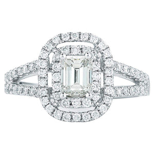 Emerald Cut & Round Brilliant 1.23 ctw VS2 Clarity I Color Simulated Diamond CZ 10K White Gold Halo Style Engagement Ring