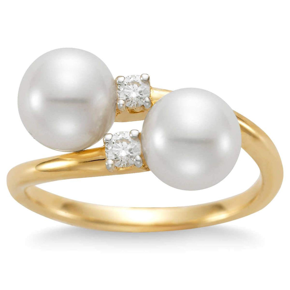 Freshwater 7-7.5mm Pearl and Simulated Diamond CZ 10kt Yellow Gold Ring