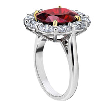 Load image into Gallery viewer, Oval Cut Lab Made Red Spinel and Simulated Diamond CZ 10K White Gold Ring