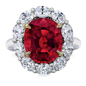 Oval Cut Lab Made Red Spinel and Simulated Diamond CZ 10K White Gold Ring