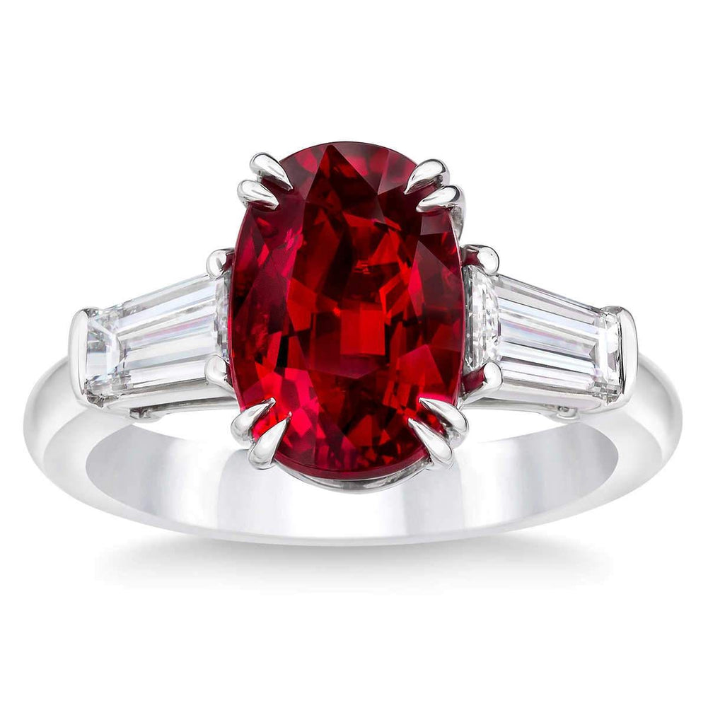 Oval Cut Simulated Ruby and CZ 10K White Gold Ring