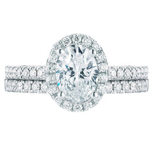 Load image into Gallery viewer, Oval and Round Brilliant 1.50 ctw Simulated Diamond CZ 10K White Gold Engagement Ring Set