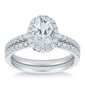 Oval and Round Brilliant 1.50 ctw Simulated Diamond CZ 10K White Gold Engagement Ring Set