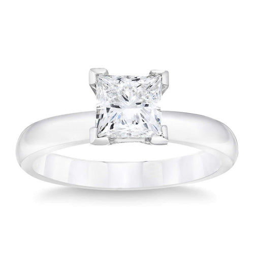 Princess Cut 1.00 ct VS2 Clarity G Color Simulated Diamond CZ 10K White Gold Solitaire Engagement Ring