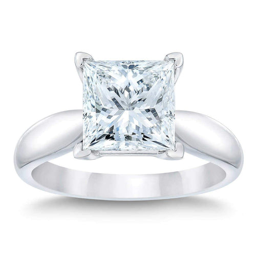 Princess Cut 3.01 ct VVS1 Clarity H Color Simulated Diamond CZ 10kt White Gold Solitaire Engagement Ring