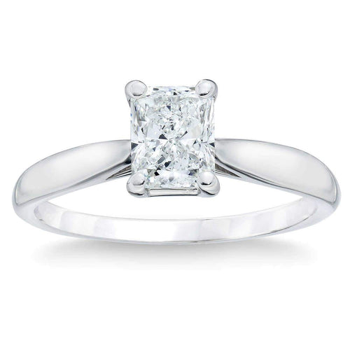 Radiant Cut 3.07 ct VVS1 Clarity H Color Simulated Diamond CZ 10K White Gold Solitaire Engagement Ring