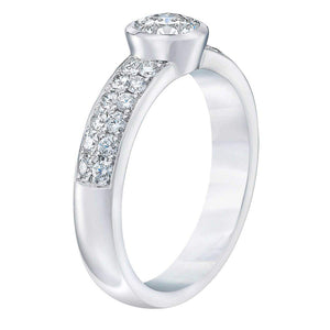 Round Brilliant .95 ctw VS2 Clarity I Color Simulated Diamond CZ 10kt White Gold Engagement Ring