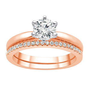 Round Brilliant 0.10 ctw VS2 Clarity I Color Simulated Diamond CZ 10kt Rose Gold Band