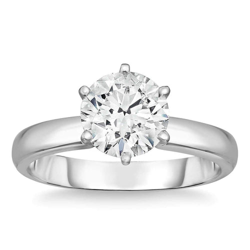 Round Brilliant 1.00 ct VS2 Clarity G Color Simulated Diamond CZ 10K White Gold Solitaire Engagement Ring