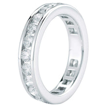Load image into Gallery viewer, Round Brilliant 2.00 ctw VS2 Clarity I Color Simulated Diamond CZ 10K White Gold Channel Set Eternity Band