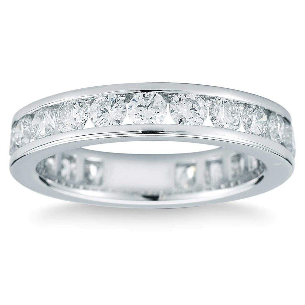 Round Brilliant 2.00 ctw VS2 Clarity I Color Simulated Diamond CZ 10K White Gold Channel Set Eternity Band
