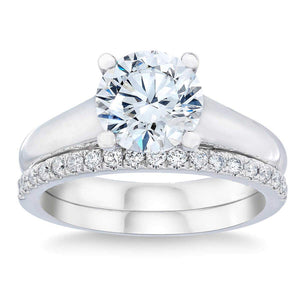 Round Brilliant 2.40 ctw VVS1 Clarity H Color Simulated Diamond CZ 10K White Gold Wedding Set