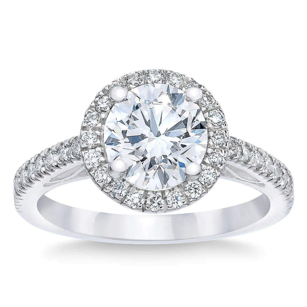 Round 2.51 ct Simulated Diamond CZ 10kt White Gold Halo Engagement Ring