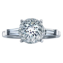 Load image into Gallery viewer, Round and Baguette 1.27 ctw Simulated Diamond CZ 10K White Gold Engagement Ring