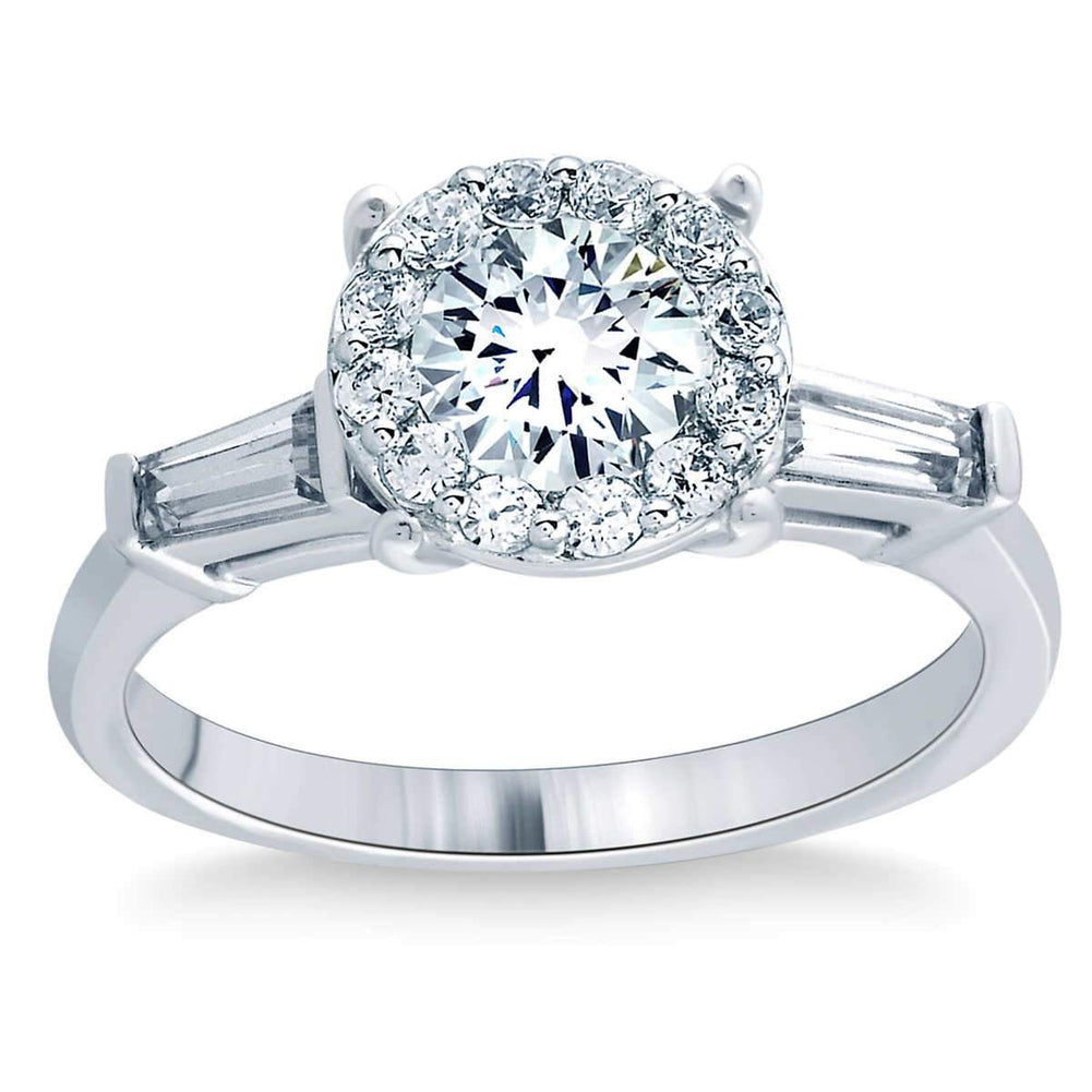 Round and Baguette 1.27 ctw Simulated Diamond CZ 10K White Gold Engagement Ring