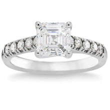 Load image into Gallery viewer, Square Emerald Cut 1.30 ctw VS2 Clarity I Color Simulated Diamond CZ 10K White Gold Ring