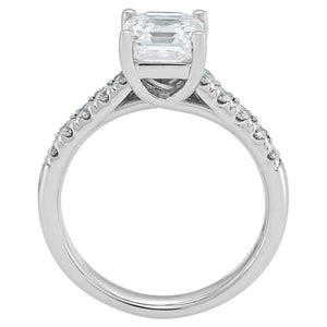 Square Emerald Cut 1.30 ctw VS2 Clarity I Color Simulated Diamond CZ 10K White Gold Ring
