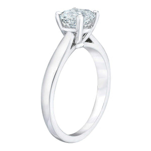 Square Emerald Cut 2.10 ct VS1 Clarity G Color Simulated Diamond CZ 10K White Gold Solitaire Engagement Ring