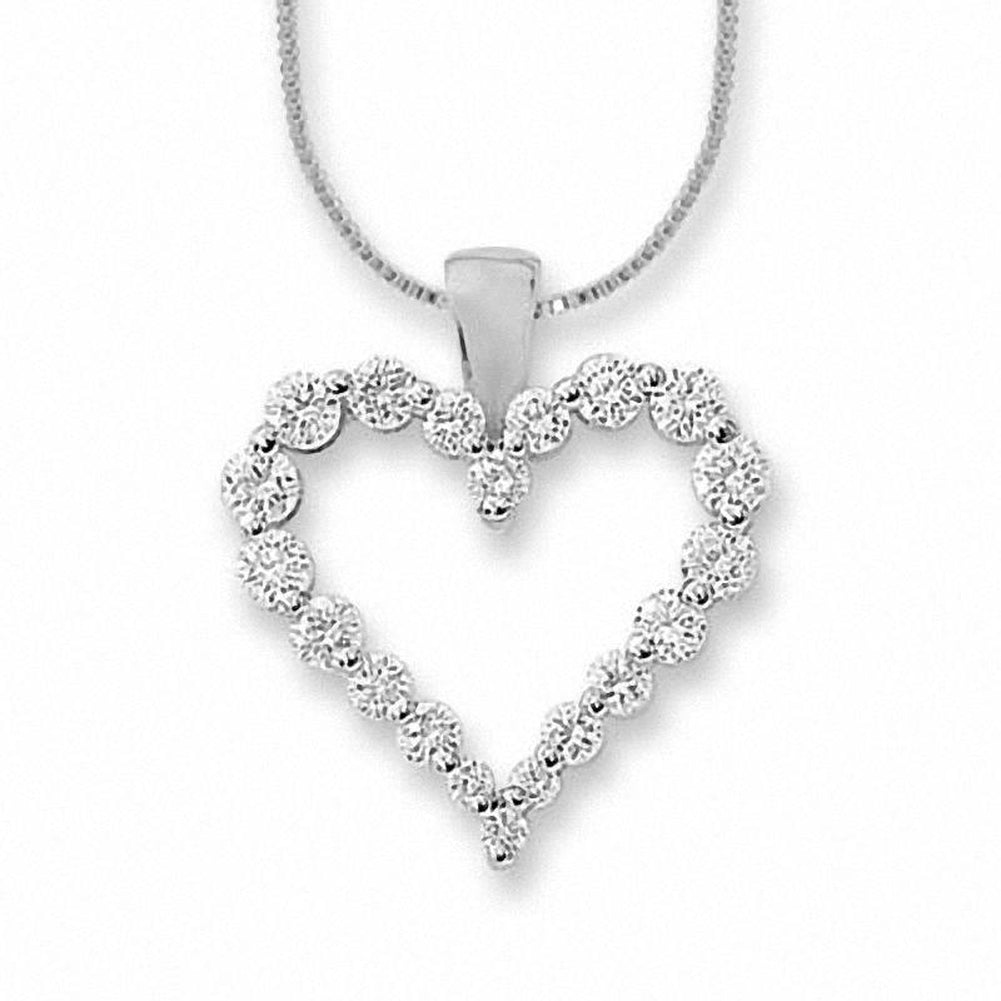 1/2 CT. T.W. Certified Colorless Diamond Heart Pendant in 14K White Gold