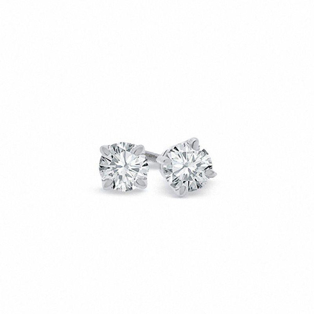 1/2 CT. T.W. Certified Diamond Solitaire Stud Earrings in 18K White Gold (I/VS2)
