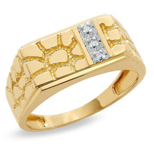 Load image into Gallery viewer, Men's Diamond Accent Rectangle Nugget Ring in 10K Gold