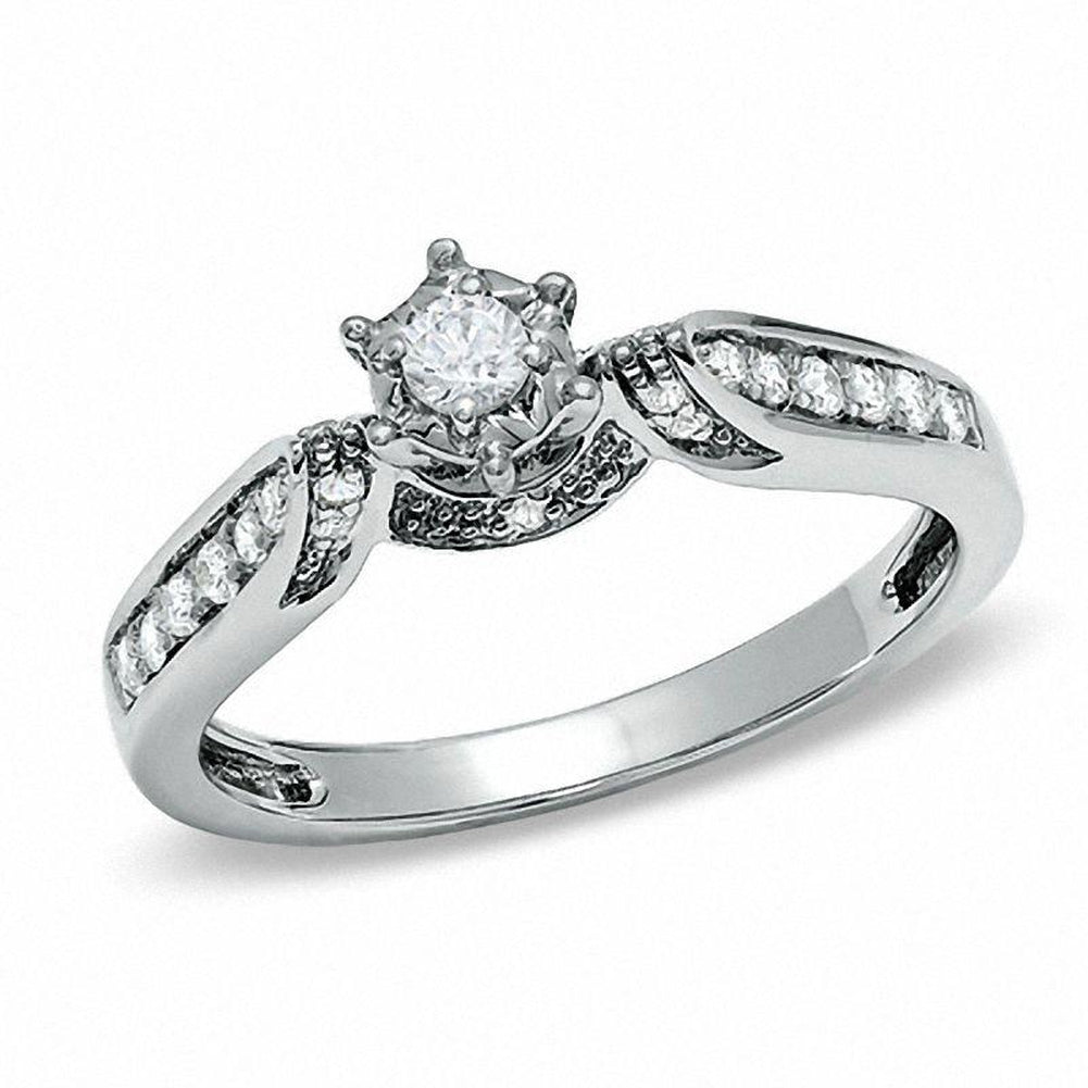 1/5 CT. T.W. Diamond Channel-Set Promise Ring in 10K White Gold