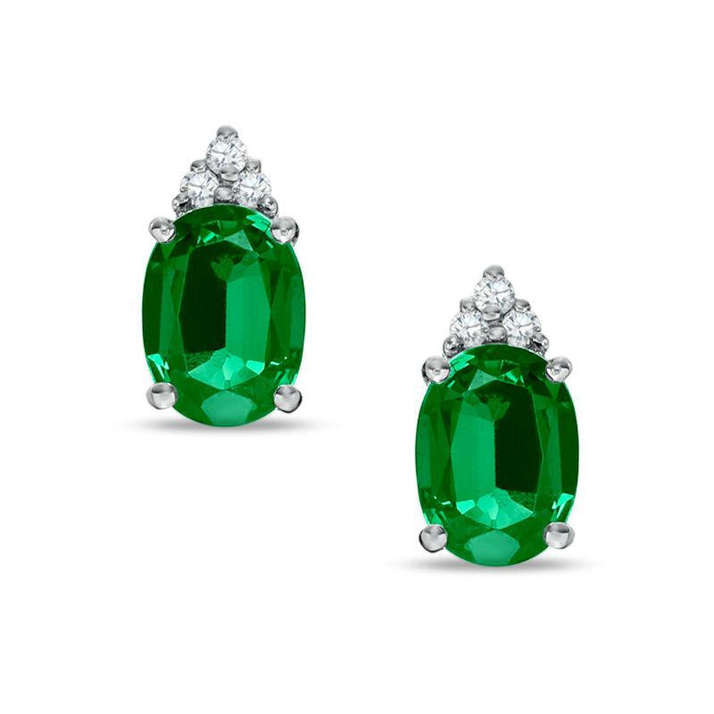 c54fdfc7a11d0 Details about Oval Lab-Created Emerald and Diamond Earrings in 14K White  Gold