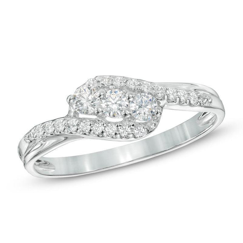 1 4 CT Diamond Three Stone Swirl Ring in 14K White gold