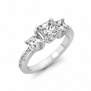 2 CT. T.W. Princess-Cut Diamond Three Stone Ring in 14K White Gold