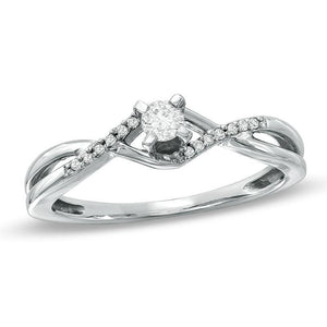 1/6 CT. T.W. Diamond Twine Promise Ring in 10K White Gold