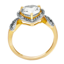 Load image into Gallery viewer, 8.0mm Heart-Shaped White Topaz and Diamond Accent Heart Frame Ring in 10K Gold