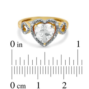 8.0mm Heart-Shaped White Topaz and Diamond Accent Heart Frame Ring in 10K Gold