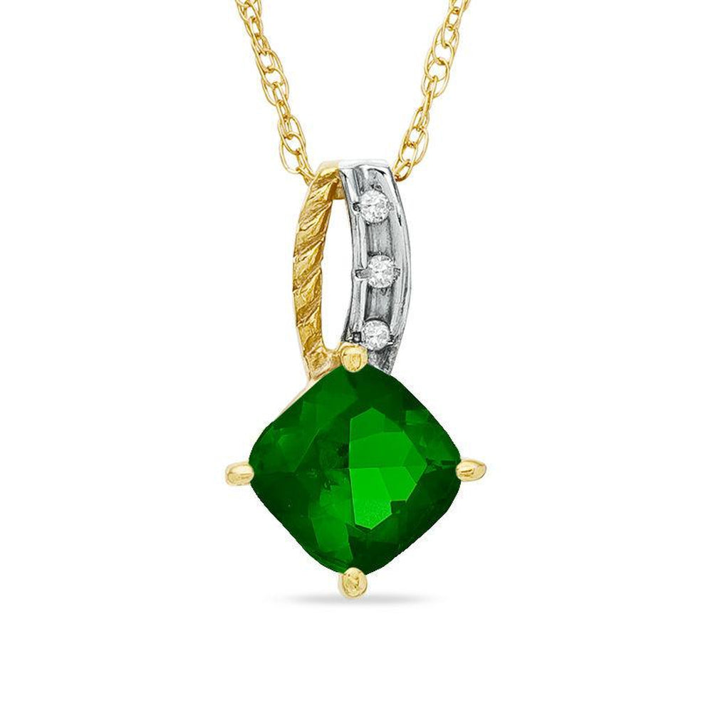 6.0mm Cushion-Cut Lab-Created Emerald and Diamond Accent Pendant in 14K gold