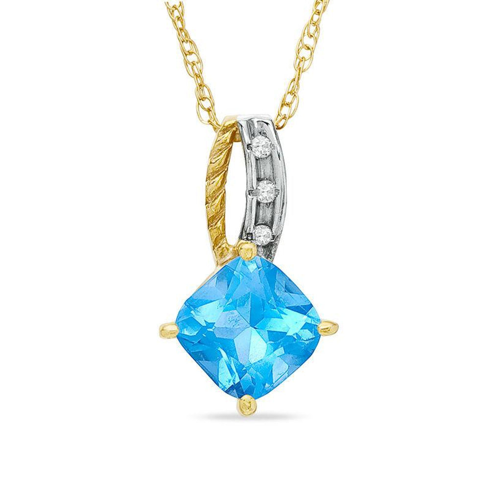 6.0mm Cushion-Cut bluee Topaz and Diamond Accent Pendant in 14K gold