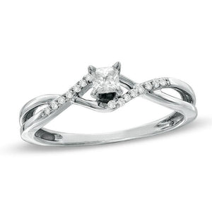 1/6 CT. T.W. Princess-Cut Diamond Twine Shank Promise Ring in 10K White Gold