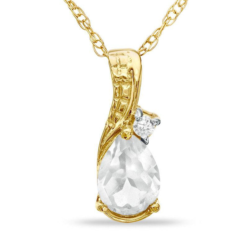 Pear-Shaped White Topaz and Diamond Accent Teardrop Pendant in 14K gold