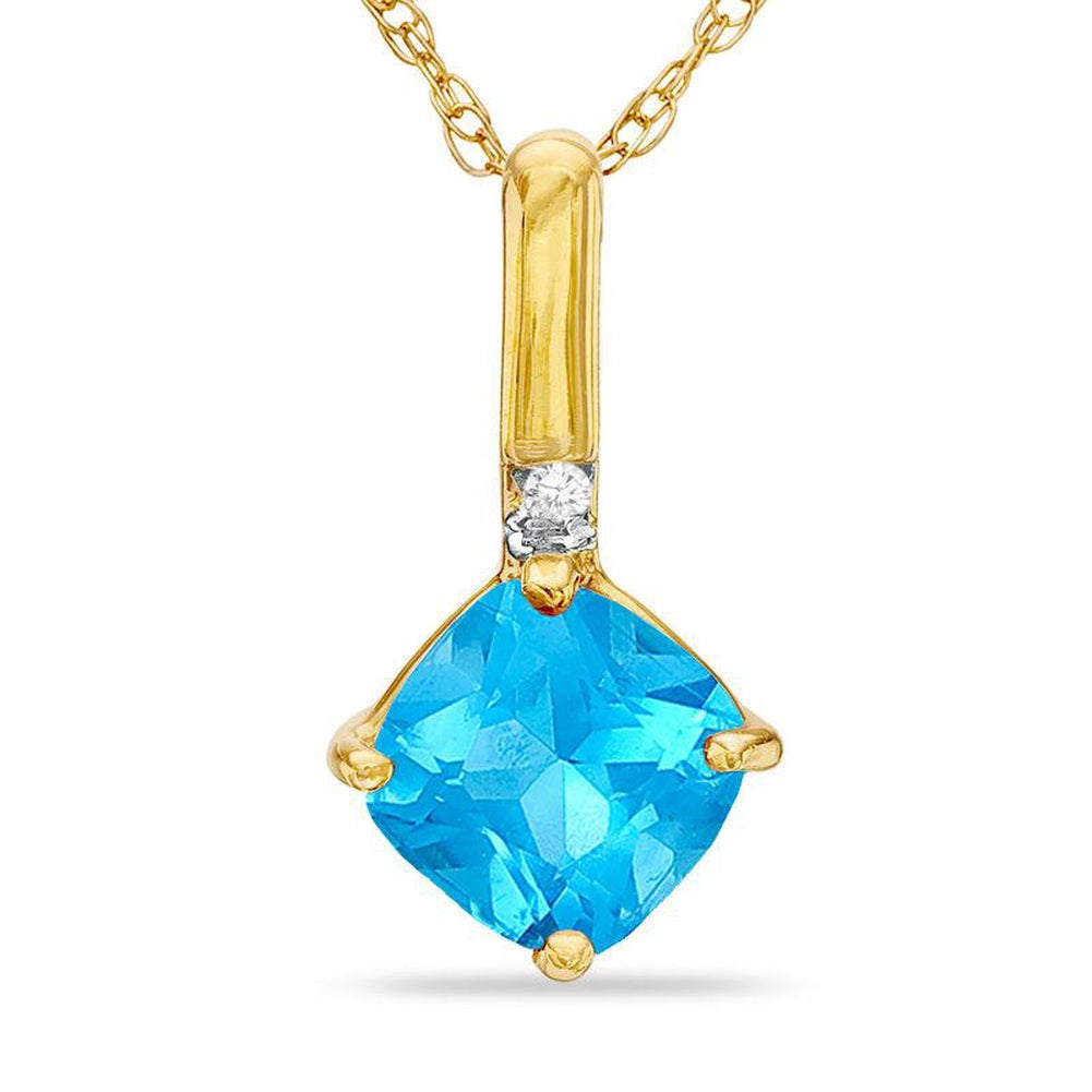6.0mm Cushion-Cut bluee Topaz and Diamond Accent Drop Pendant in 14K gold