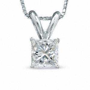 1/2 CT. Certified Princess-Cut Diamond Solitaire Pendant in 18K White Gold (I/VS2)