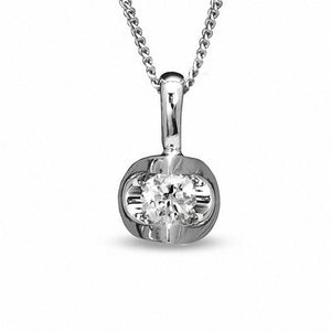 1/10 CT. Certified Canadian Diamond Solitaire Pendant in 14K White Gold (I/I2) - 17""