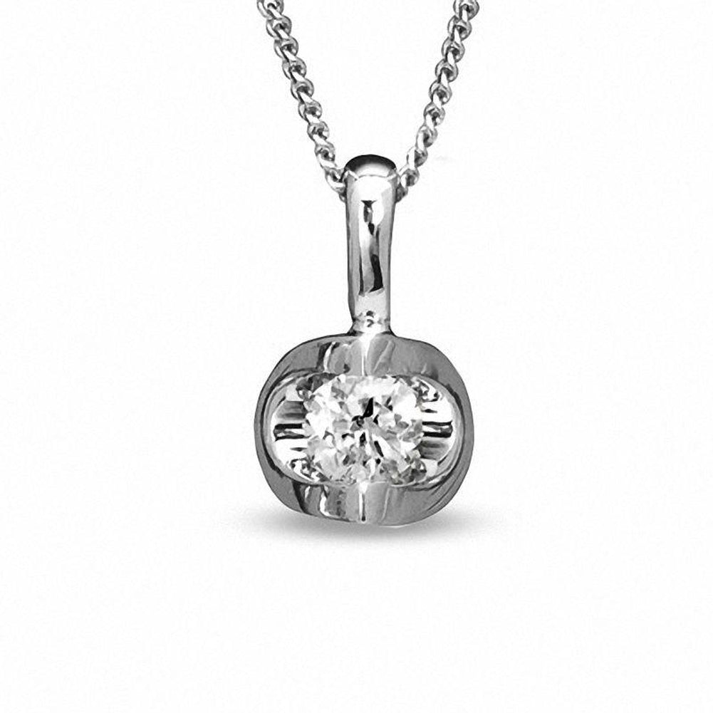 1/10 CT. Certified Canadian Diamond Solitaire Pendant in 14K White Gold (I/I2) - 17